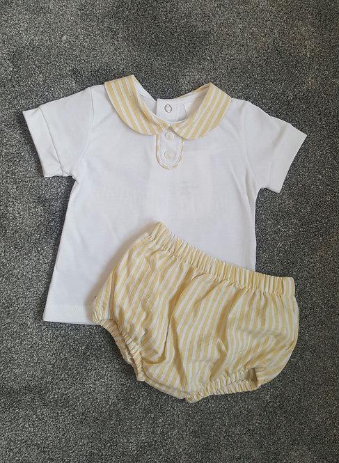 Pale Yellow Striped Bloomer Set