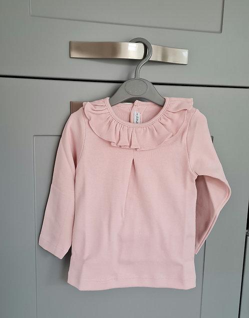 Calamaro Blush Pink Frilly Collar Top