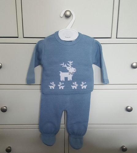 Blue Reindeer Knitted 2 Piece Set