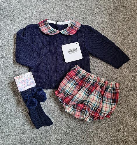 Navy Blue Knitted Jumper, Tartan Bloomer & Socks Set