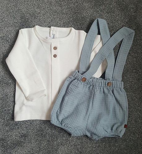 Calamaro Cream & Blue Dungaree Shorts Set