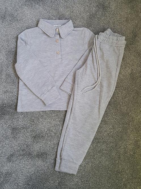 Grey Soft Polo Lounge Set