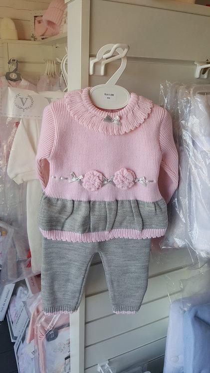 Pink & Grey 3D Rose Knitted Set
