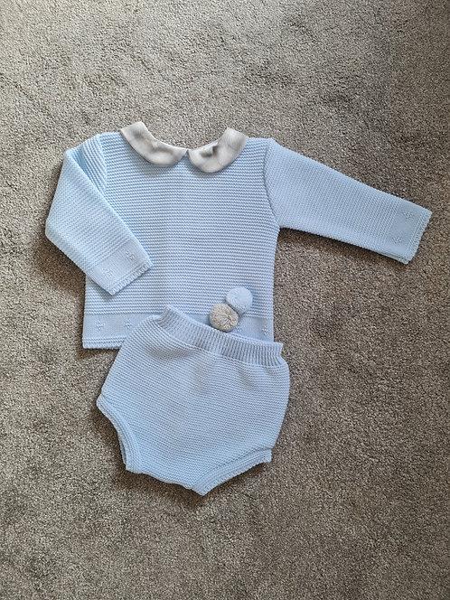 Baby Blue & Grey Checked Collar Pom Set