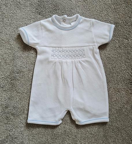 White / Baby Blue Smocked Romper