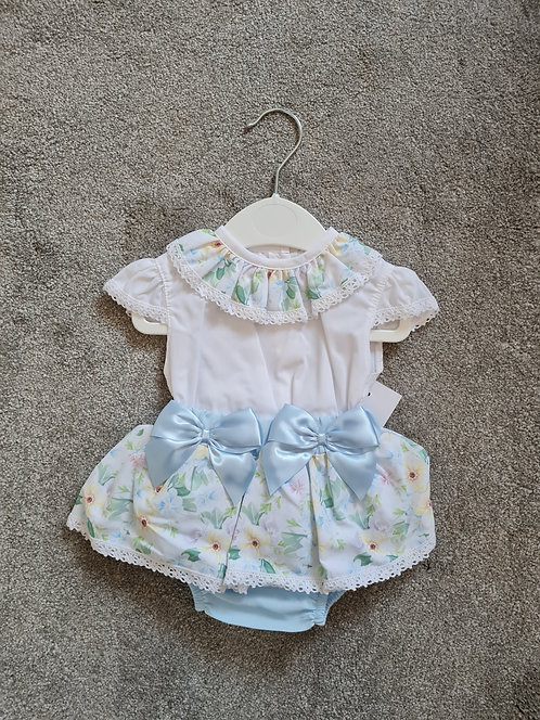 Blue Floral Frilly Bow Bloomer Set