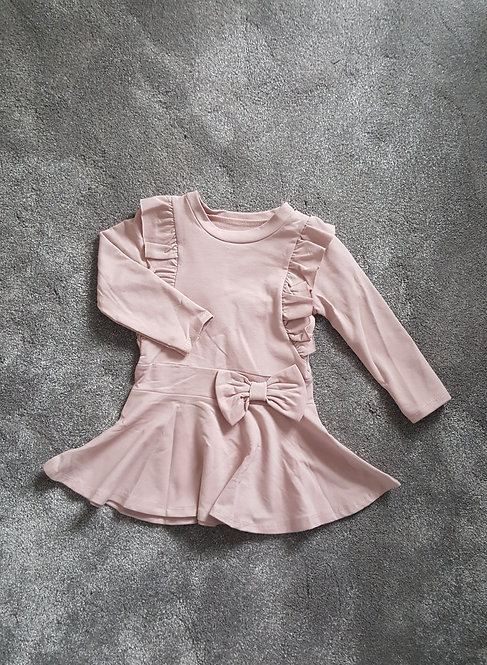 Pale Pink Frill Bow Dress