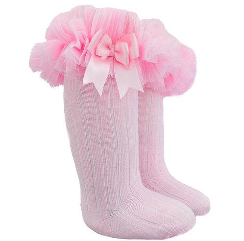 Pink Tutu Bow Knee High Socks