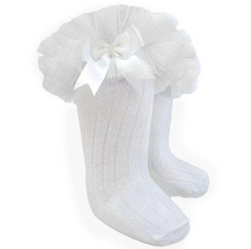 White Tutu Bow Knee High Socks
