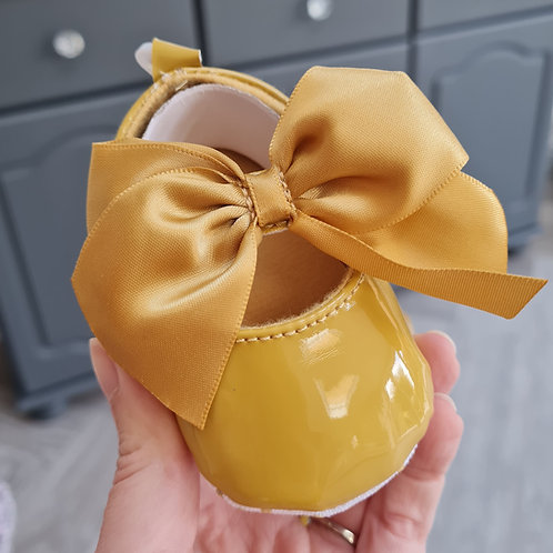 Mustard Ribbon Bow Soft Sole Shoes