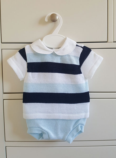 Striped Fine Knitted Bloomer Set