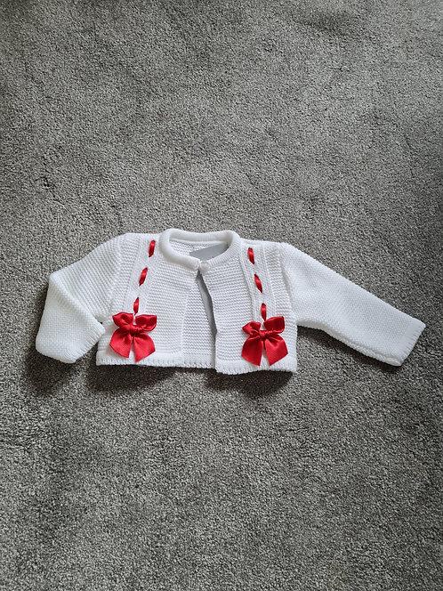 White Cropped Red Ribbon Bow Bolero Cardi