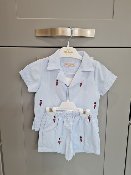 Baby Blue Soldier Embroidered Motif Pyjamas