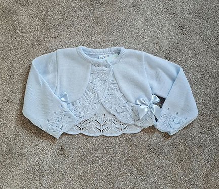 Blue Bow Crochet Knitted Cardigan