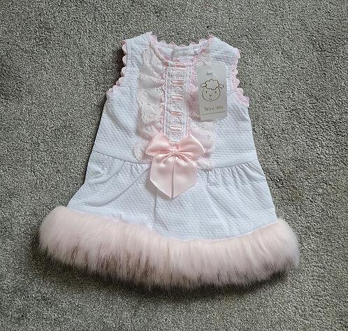 Wee Me White & Pink Faux Fur Trim Bow Dress