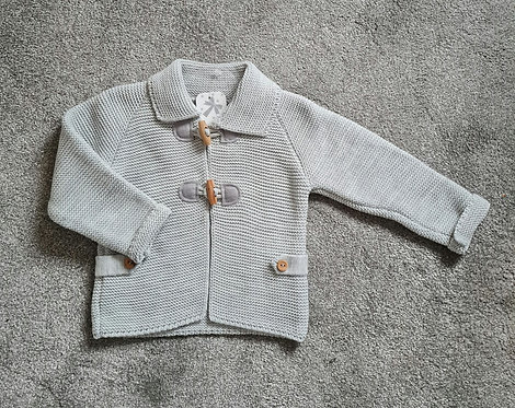 Grey Knitted Toggle Fastening Jacket