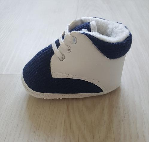 White & Navy High Top Pram Shoes