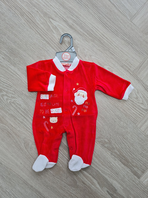 Dear Santa Is It Too Late To Be Good Velour Sleepsuit