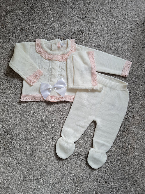 Cream & Pale Pink Knitted Bow Boxed Set