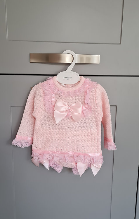Baby Pink Lace Bow Bloomer Set