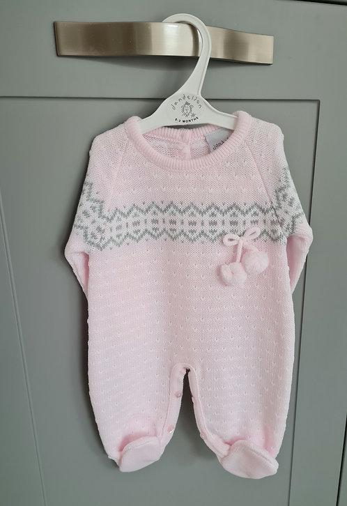 Baby Pink Pom Pom Knitted Sleepsuit