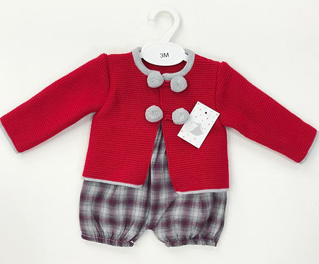Red Knitted Pom Pom Checked Bloomer Set
