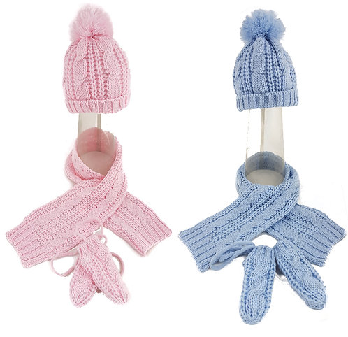 Knitted Pom Pom Hat, Scarf & Mitten Set