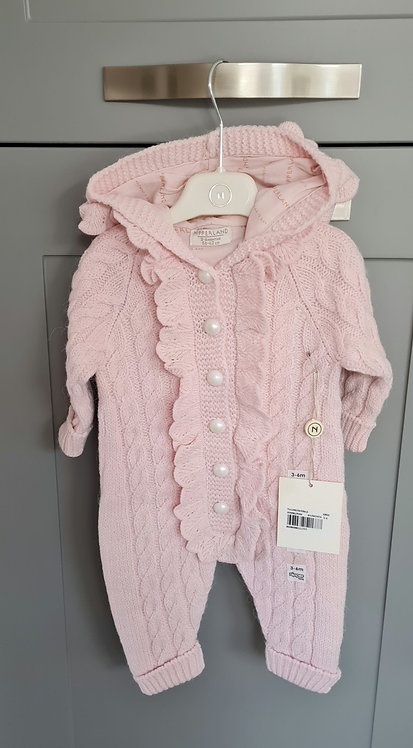 Pale Pink Cable Knitted Pearl Button Pramsuit