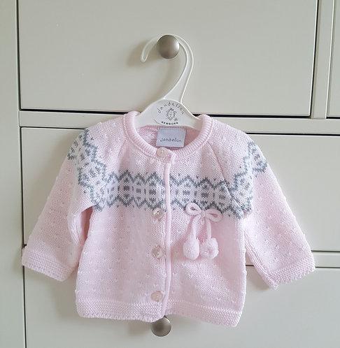 Baby Pink Pom Pom Knitted Cardigan