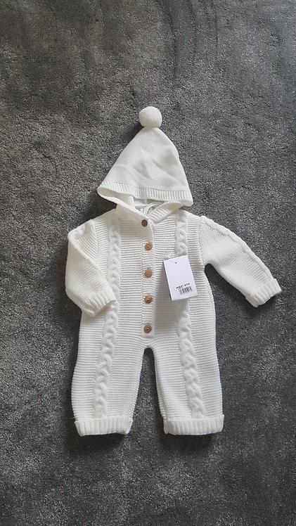 Cream Knitted Pom Pom Hooded Pramsuit