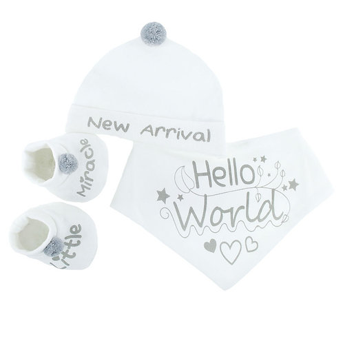 New Arrival White & Grey Hat Set