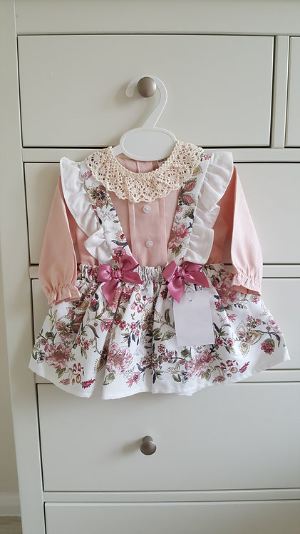 Spanish Lace Collar Floral Bow Dress