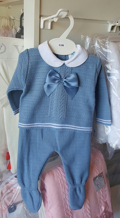 Petrol Blue Knitted Bow Set