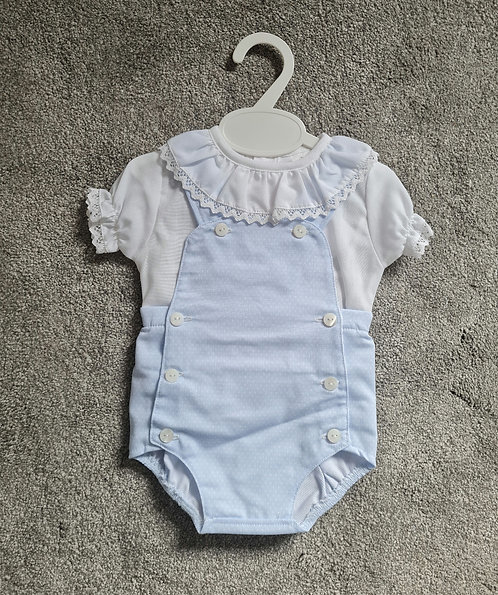 Baby Blue & White Frill Collar Romper Set