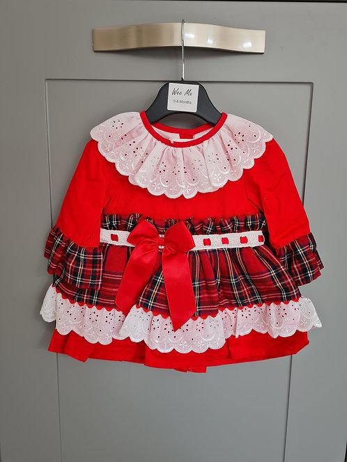 Wee Me Red Tartan Lace Frill Dress