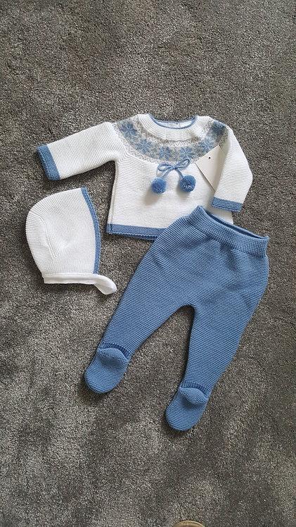 White & Blue Knitted Pom Pom Bonnet Set