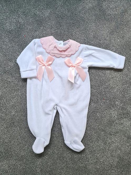 White / Pink Double Bow Velour Sleepsuit