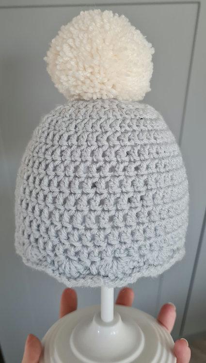 Handmade Grey & Cream Pom Pom Hat