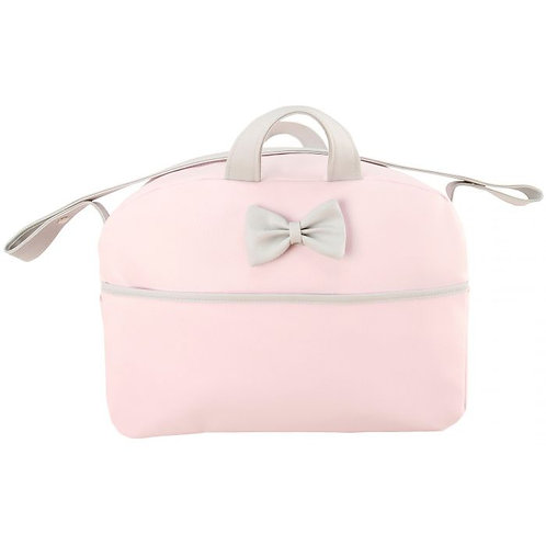 Baby Pink & Grey Bow Changing Bag