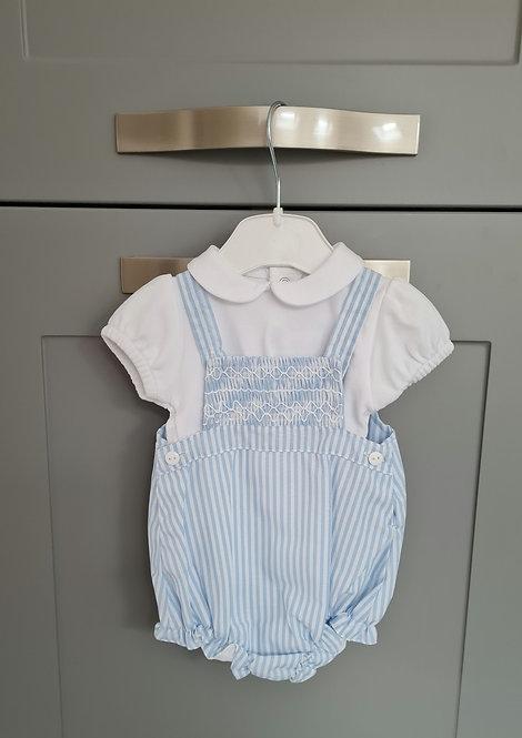 Blue & White Striped Dungaree Set