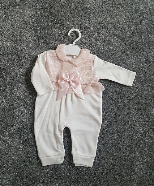 Cream / Pink Bow Sleepsuit