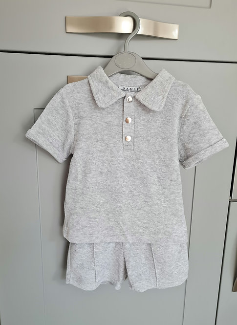 Grey Terry Towelling Shorts Set