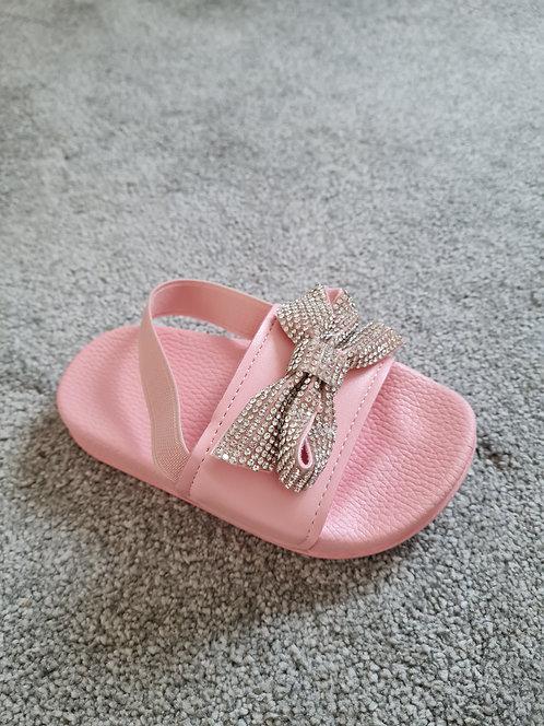 Baby Pink Diamante Bow Sliders