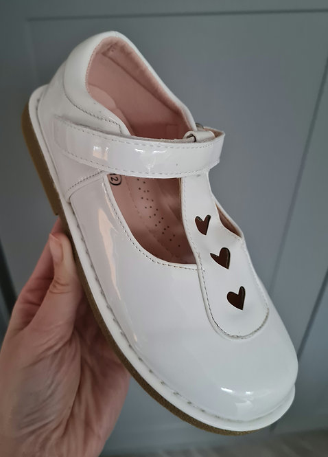 White Patent Heart Detail Velcro Shoes