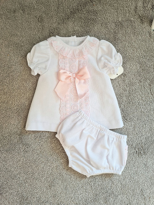 White & Pink Lace Bow Bloomer Set