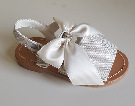 Silver Diamante Bow Hard Sole Sandals