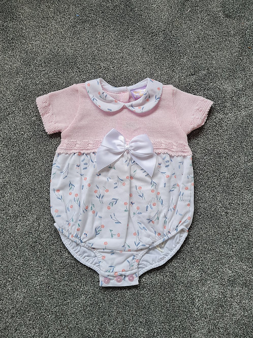 Pale Pink & White Floral Bow Romper