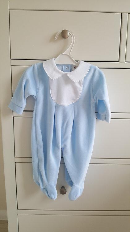 Blue Velour Collared Sleepsuit