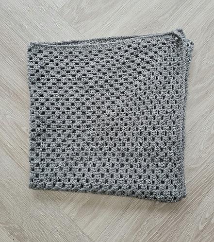 Handmade Large Grey Silver Shimmer Blanket