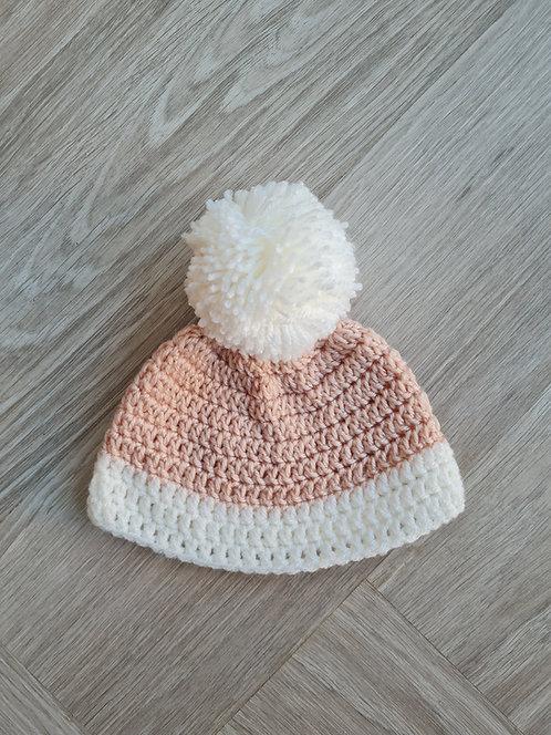 Handmade Cream & Brown Pom Pom Hat